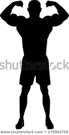 Siluet güçlü adam savaşçı genç uygunluk Stok fotoğraf © restyler