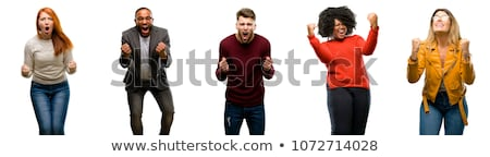 Yakışıklı siyah adam çığlık atan heyecan genç heyecanlı Stok fotoğraf © zdenkam