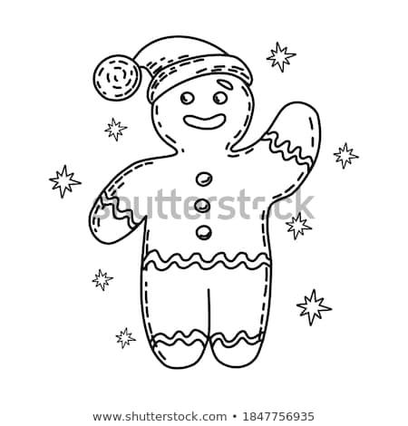 gingerbread man line icon stock photo © rastudio