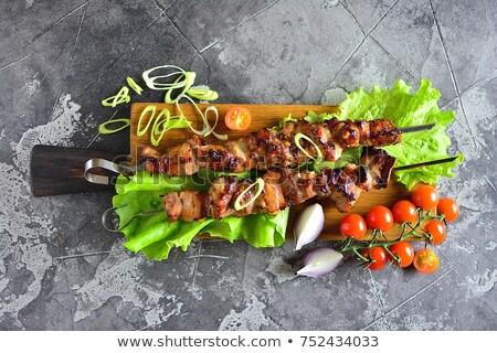Grillezett marhahús nyárs saláta étel fa Stock fotó © M-studio