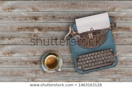 Foto d'archivio: Macchina · da · scrivere · tavola · nero · vintage · moderno · laptop