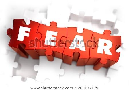 Puzzle słowo strach puzzle budowy zabawki Zdjęcia stock © fuzzbones0