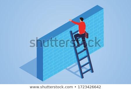 Biznesmen drabiny człowiek ściany pracownika skali Zdjęcia stock © alphaspirit