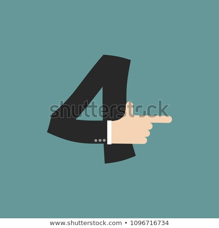 number 4 letter businessman hand font. It shows finger print. Ar Stock photo © popaukropa