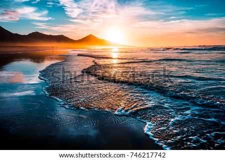 Deniz manzara altın gündoğumu su bahar Stok fotoğraf © alinamd