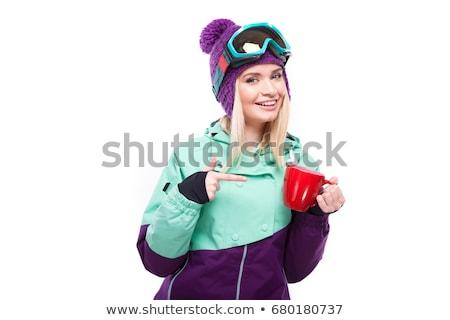 Stok fotoğraf: Genç · güzel · kadın · mor · Kayak · kostüm