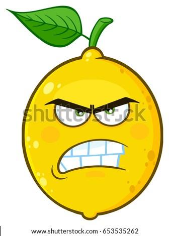 boos · Geel · citroen · vruchten · cartoon · gezicht - stockfoto © hittoon
