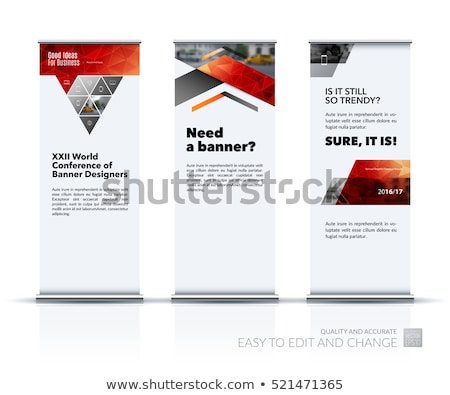 Blank roll up advertising promotion counter set. Trade stand. Ad Poster set isolated on white backgr Stock photo © Terriana