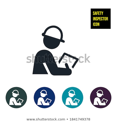 Safety inspection clipboard and hardhat. Vector Illustration Stock photo © alexmillos