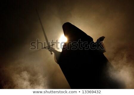 arab · nő · megjelenés · kard · kéz · fény - stock fotó © photooiasson