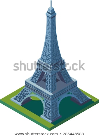 Izometrik Eyfel Kulesi Bina 3d metin Fransa Stok fotoğraf © Genestro