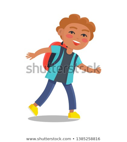 Smiling Kid in Blue Jacket and Jeans with Rucksack Stock photo © robuart
