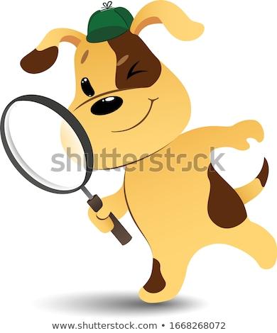Сток-фото: Cartoon · улыбаясь · детектив · щенков · Hat · животного