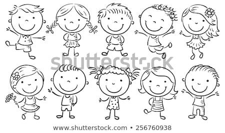 Cartoon · дети · черно · белые · набор · иллюстрация - Сток-фото © izakowski