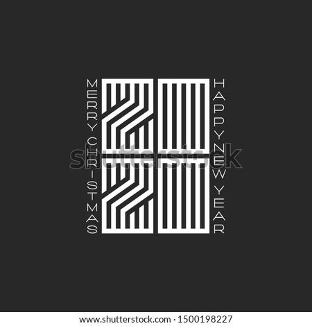 Labirintus új év üdvözlőlap rejtély kódolt felirat Stock fotó © Olena