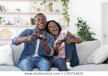 2 幸せ アフリカ 男 友達 カラフル ストックフォト © deandrobot