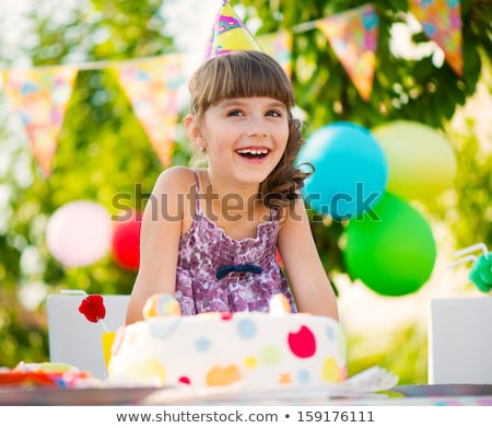 happy kids with cake on birthday party at summer Stock photo © dolgachov