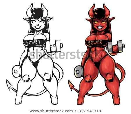 Cartoon дьявол гантели иллюстрация Сток-фото © cthoman