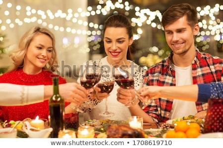 Család gyűlés karácsony illusztráció nő lány Stock fotó © colematt