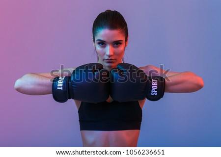 nő · boxkesztyűk · piros · fiatal · képzés · verekedés - stock fotó © phbcz