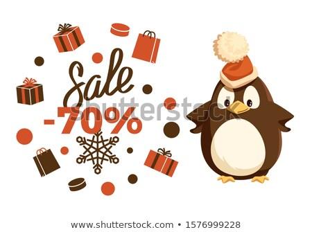 Neşeli Noel satış yüzde penguen hayvan Stok fotoğraf © robuart