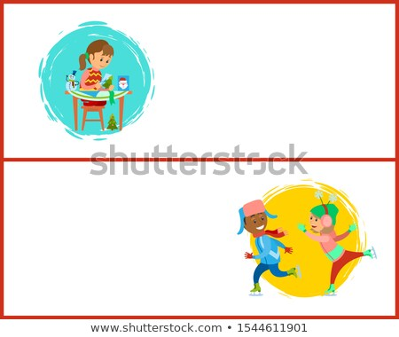 Handcrafted Gift Girl Sitting at Table and Cutting Stock photo © robuart