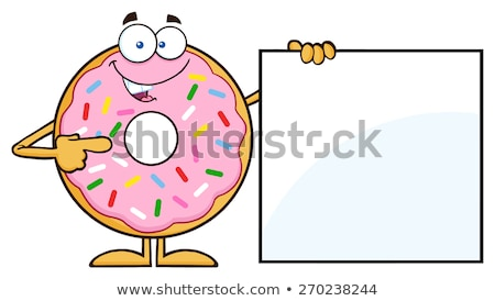donut cartoon character with sprinkles showing a blank sign stock photo © hittoon