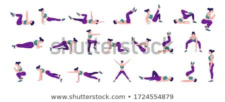 Woman Doing Exercises, Fitness Activities Set Stock photo © robuart