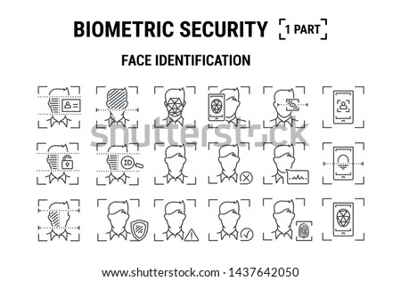 Digital vector facial recognition icons set Stock photo © frimufilms