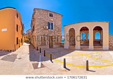Novigrad Istarski town lodge and street scene panoramic view stock photo © xbrchx