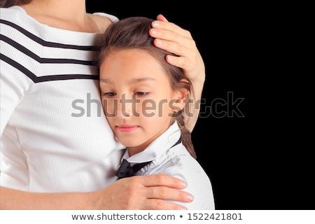 Madre confortevole figlia studio bianco famiglia Foto d'archivio © Lopolo