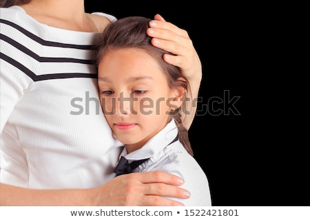 Mãe reconfortante filha estúdio branco família Foto stock © Lopolo