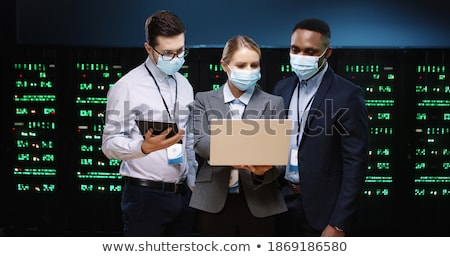 Business woman working on tablet with online database concept Stock photo © ra2studio