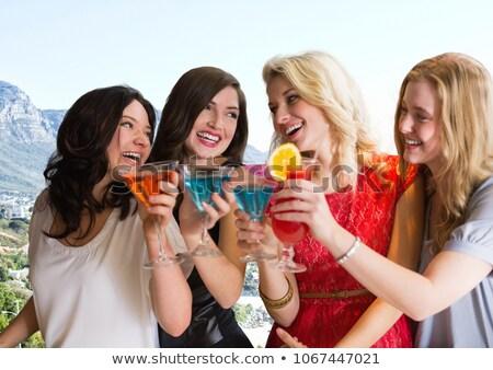 Groep vrienden cocktails kustlijn digitale composiet Stockfoto © wavebreak_media