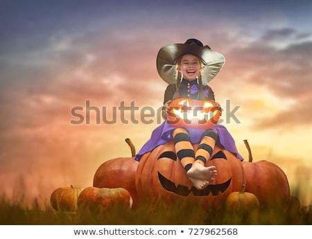 Bambina zucca costume felice halloween cute Foto d'archivio © choreograph
