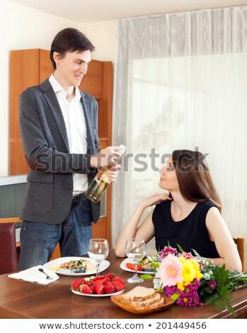 Giovani ragazzo vino fidanzata cielo Foto d'archivio © EdelPhoto
