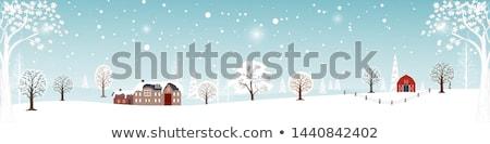 Dorp bos winter nacht christmas Stockfoto © liolle