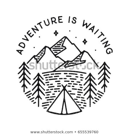 Vintage aventura cartaz montanhas tenda Foto stock © JeksonGraphics