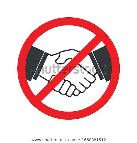 handshake prohibited   red prohibition sign stock photo © djdarkflower