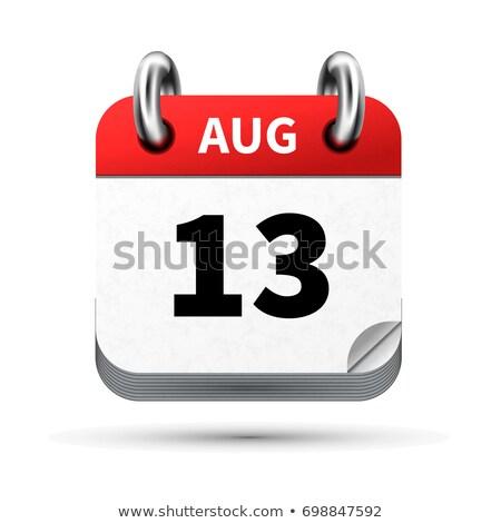 Brilhante realista ícone calendário 13 agosto Foto stock © evgeny89
