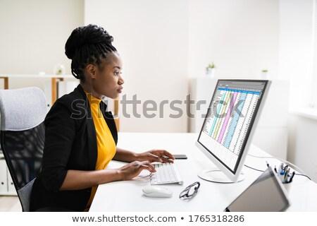 Finansowych analityk arkusz kalkulacyjny oprogramowania laptop biuro Zdjęcia stock © AndreyPopov