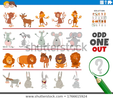odd one out picture game with funny animal characters Stock photo © izakowski