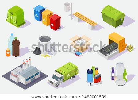 Rubbish Trash Can Isometric Icon Vector Illustration Stock photo © pikepicture
