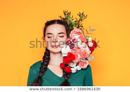 piękna · kobieta · czerwony · zielone · przedstawia · plecy · biały - zdjęcia stock © Rob_Stark