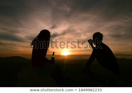 Cerveja romântico maos homem mulher vidro Foto stock © olira
