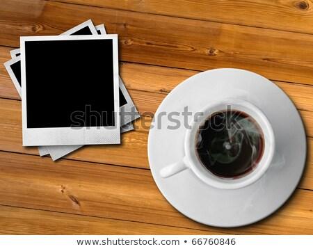 fotoğraf · fincan · kahve · masa · örtüsü · harika · ahşap - stok fotoğraf © witthaya