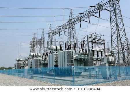 voltage · elektrische · paal · zonsondergang · draden · woestijn - stockfoto © witthaya