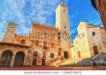 towers · Toskana · İtalya · doku · Bina · duvar - stok fotoğraf © wjarek