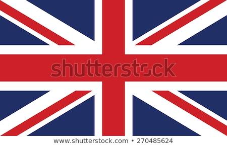Stock fotó: Zászló · nő · felfelé · brit · zászló · lány · mosoly