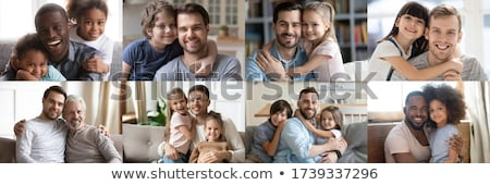 kollázs · szülők · kislány · otthon · nő · család - stock fotó © photography33